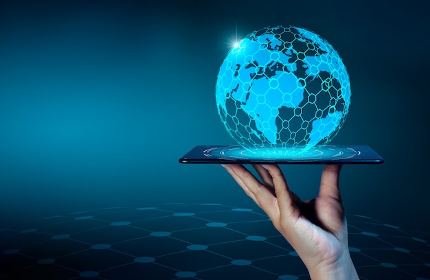 Smart phones and globe connections uncommon communication world internet