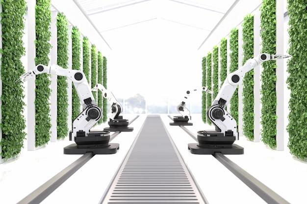스마트 로봇 농부 개념 로봇 농부