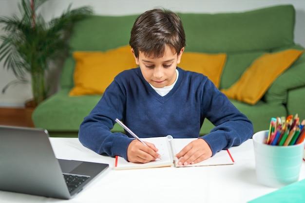 Умный школьник делает домашнее задание, используя ноутбук и писать, homeschool. онлайн обучение. образование дома, копия пространства