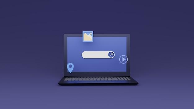 Интеллектуальная панель поиска с плавающим элементом поиска на экране ноутбука