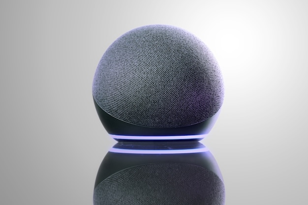 Умная колонка и виртуальный помощник. он используется для поддержания связи в доме и передачи голосовых команд другим электронным устройствам. современные технологии. белый фон.