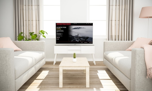 Smart television movies streaming on living room mockup 3d rendering
