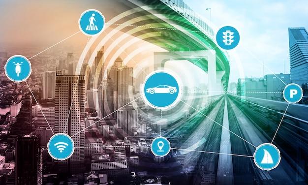 도로 위의 미래 자동차 교통을 위한 스마트 교통 기술 개념