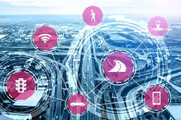 道路上の将来の自動車交通のためのスマート輸送技術コンセプト