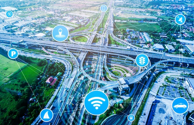 Smart transport technology concept for future car traffic on road