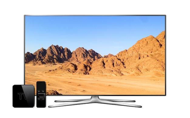 리모컨이있는 스마트 tv 및 멀티미디어 박스