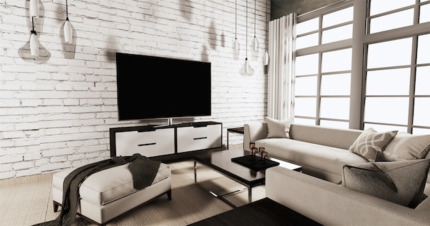 Smart tv on cabinet in living room with white brick wall on wooden floor and sofa