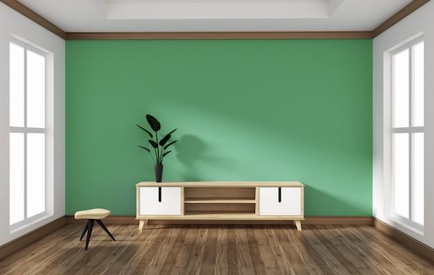 Smart tv in empty style room design .3d rednering