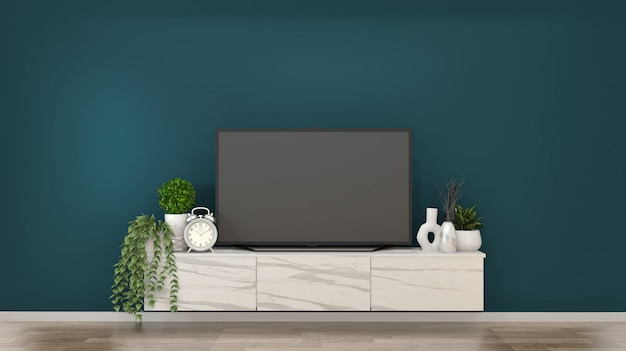 Smart tv on granite cabinets in a dark green room and decoration.3d rendering