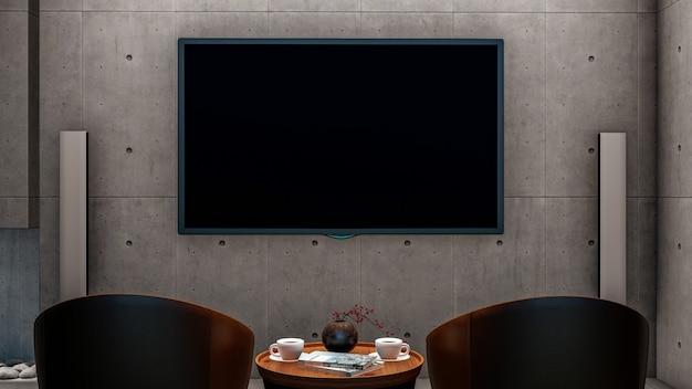 コンクリートの壁のリビングルームにスマートテレビ