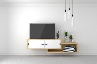 スマートテレビモックアップ、空の部屋、白い壁のモダンな空のインテリア。 3Dレンダリング