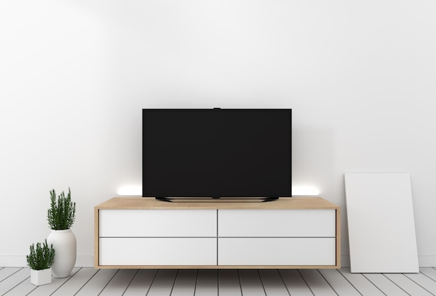 Smart tv mockup cabinet decor, modern living room zen style. 3d rendering