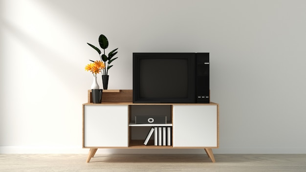 Smart tv mockup on the cabinet decor, modern living room zen style. 3d rendering
