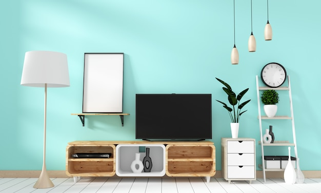 Smart tv mockup on mint wall in japanese living room. 3d rendering