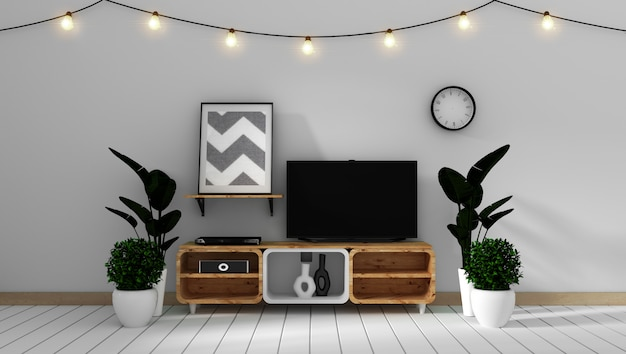 Smart tv mockup on white wall in japanese living room. 3d rendering