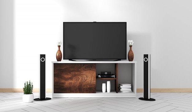Smart tv mockup with blank black screen hanging on the cabinet decor, zen style.