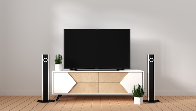 Smart tv mockup with blank black screen hanging on the cabinet decor