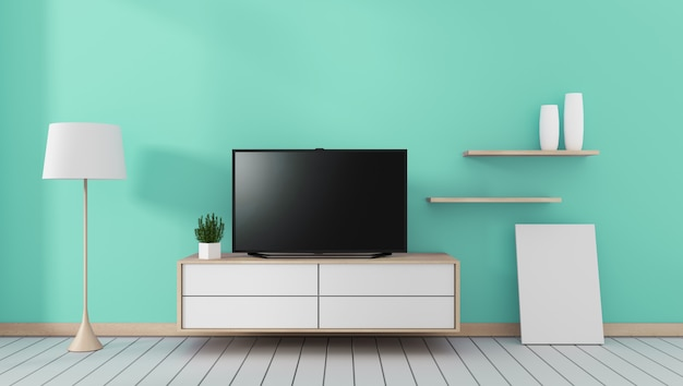 Smart tv with blank black screen hanging on the cabinet