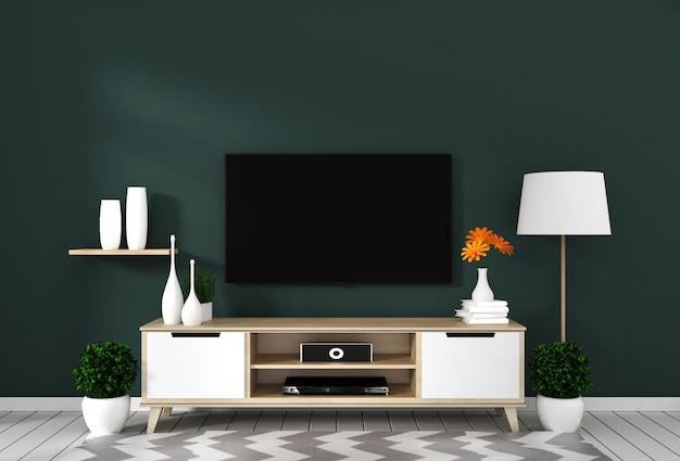 Smart tv with blank screen hanging on the wall dark green on white wooden floor mockup. 3d rendering