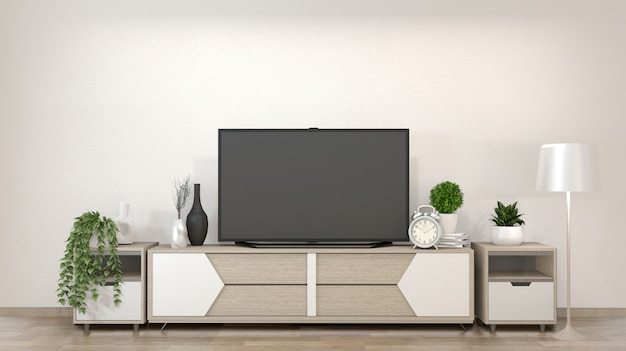 Smart tv on zen living room with decoration minimal style. 3d rendering