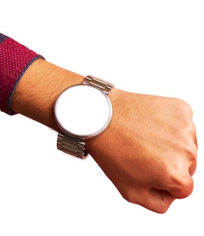 Smart watch on hand with isolated, blank screen for mockup.