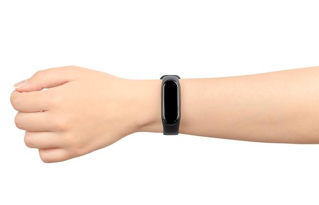 흰색 절연 여성 손에 스마트 시계