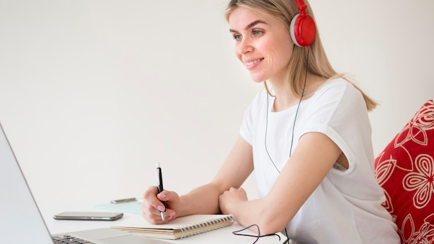 Smart young student online courses