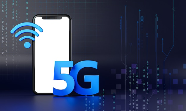 Smartphone 5g icon hologram. technology concept 3d rendering
