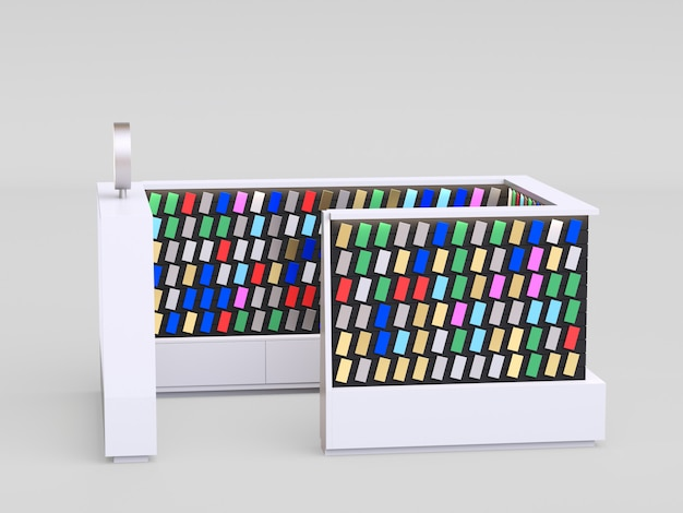 Smartphone accessories kiosk selling phone cases and other smartphone items inside of a mall. 3d render