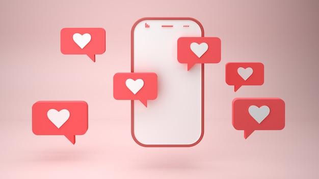 Смартфон и сердце подписывают пузыри уведомлений на розовом фоне d иллюстрации