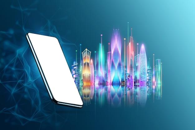 スマートフォンとホログラムのスマートシティ、ビッグデータ伝送技術のコンセプト。 3dレンダリング、3dイラスト。