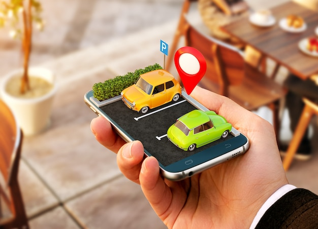 지도에서 무료 주차 장소를 온라인으로 검색하는 스마트 폰 애플리케이션