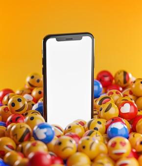 Смартфон между кучей смайликов emoji