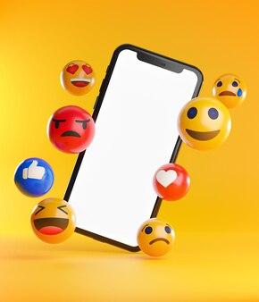 Смартфон между смайликами emoji.