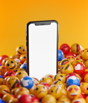 Smartphone between a bunch of emoji emoticons
