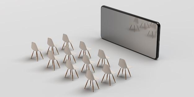 スマートフォンシネマコンセプト。携帯電話の前の椅子。バナー。 3dイラスト。アプリ。スペースをコピーします。