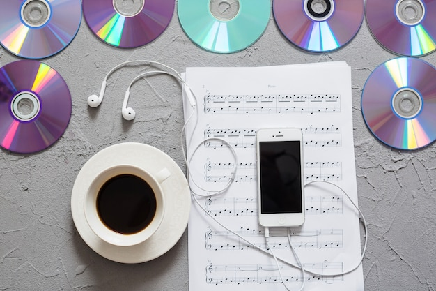 Smartphone, coffee and music objects