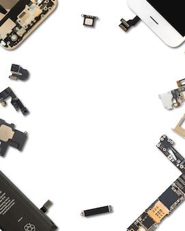 スマートフォンの部品を白で隔離します。