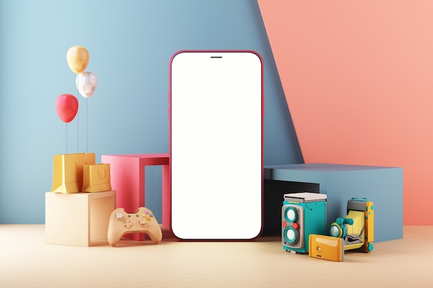Smartphone gaming concept. phone with gamepad. minimal trendy design colorful pastel. device screen on modern minimal background for presentation or application design show 3d rendering