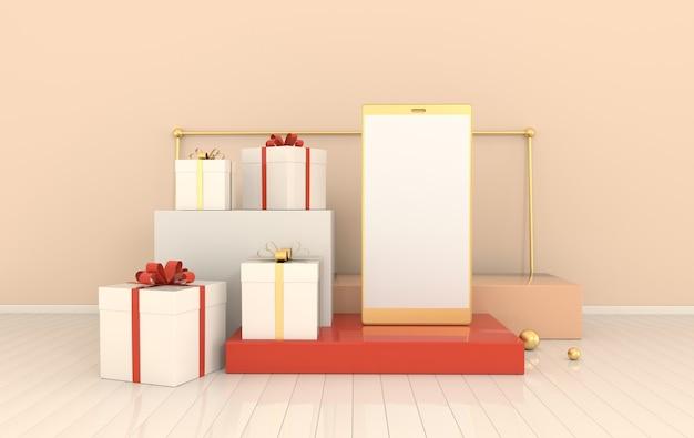 스마트 폰 선물 상자는 제품 프리젠 테이션을위한 연단 세트를 렌더링합니다.