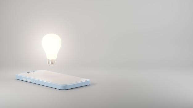 スマートフォンゴールデンモデル青色電球コンセプトデザイン3dレンダリングイラスト