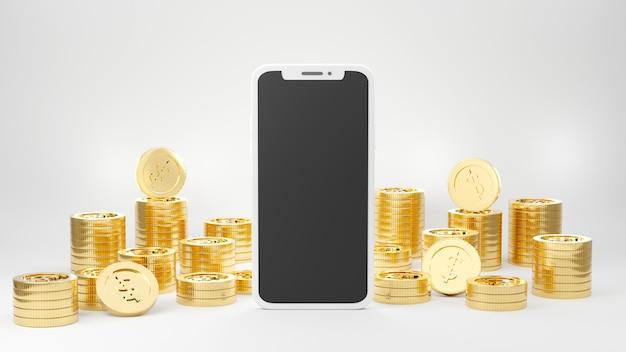 Смартфон золотая модель макет со стопками золотых монет 3d-рендеринг иллюстрации