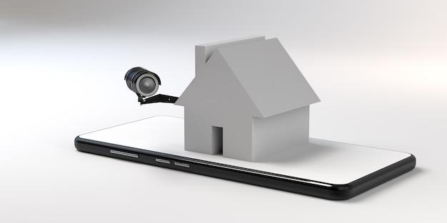 スマートフォンの家庭用ビデオ監視の概念。 3dイラスト。バナー。スペースをコピーします。アプリ。
