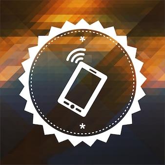 Значок смартфона. дизайн ретро этикетки. битник фон из треугольников, эффект цветового потока.