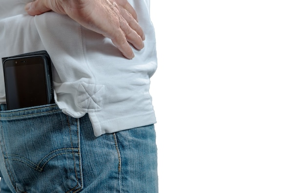 Smartphone is in the back pocket of man jean