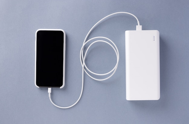 Smartphone is charged from power bank