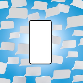Smartphone mock up screen on blue background with white messege icons mobile messanger concept