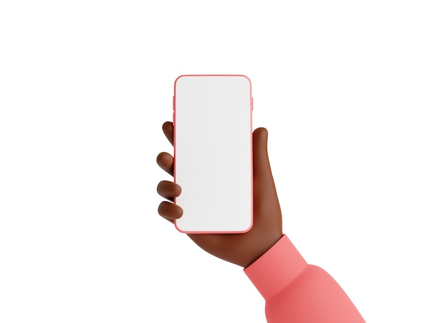 Smartphone mockup in african american hand 3d render illustration isolated on white background. afroamerican hand in pink sweater holding mobile phone with empty white touch screen - gadget mockup.