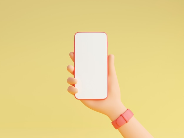 Smartphone mockup in human hand with pink wristwatches 3d render illustration, mobile gadget with empty white screen in character hand isolated on yellow background.