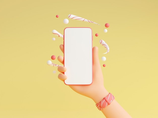 Smartphone mockup in human hand with pink wristwatches 3d render illustration. mobile phone with empty white screen in character hand with decorations on yellow background.